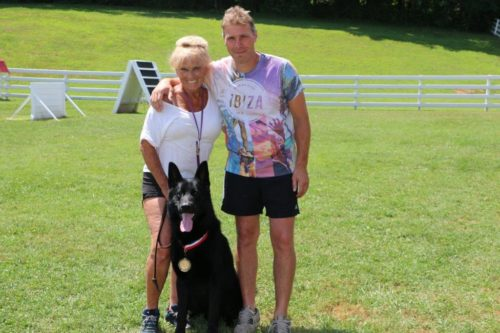 Joyce and Vincent for Django with his Schutzhund 2 title. Many thanks to Vincent and Roger, this has been a really hard dog for me to work and I don't think I could have done it without my two friends. Going for the 3 this year with the big guy so I have a lot of work ahead of me!