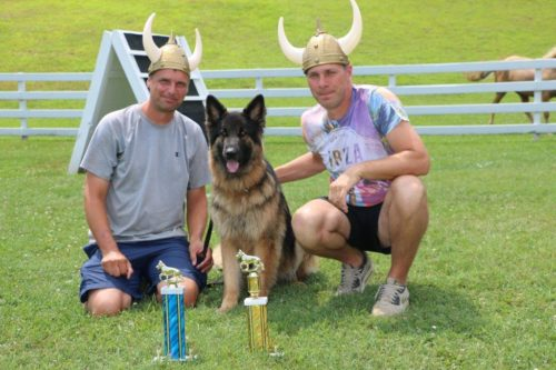 Bruce and Sasha with Sasha's Schutzhund 3 title. This is a dog that everyone said could never do the work. She got her Schutzhund 3 with high in tracking and high Schutzhund 3. She also now has her FH 1 title and going for her FH 2 title this year. This proves with the right work and good handling what you can do with a dog. We are very proud of Bruce and Sasha!