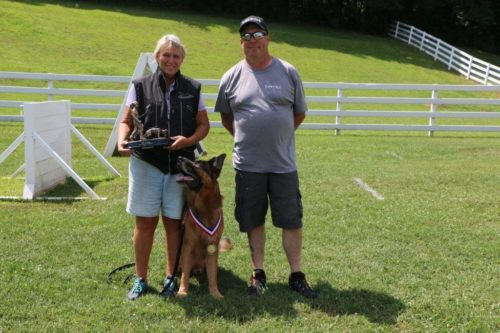 Sue and Roy with her FH one. Roy turned 10 years old this year! The club is so proud of the work Sue has done with this dog.