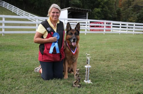 This is one of our club members that we are so proud of with her dog, Roy, that she acquired here at Misty Ridge. He was her first Schutzhund dog and after many heart breaks and failing, she kept at it and not only got her Schutzhund three but her FH as well. We need more people like her in our sport. She gets a big congratulations from all of us at our club!
