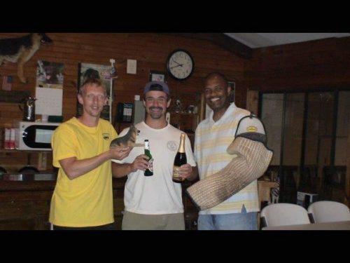 Andy Teimourian, Peter Verachtert and Geoffrey Ellis all after doing helper work.